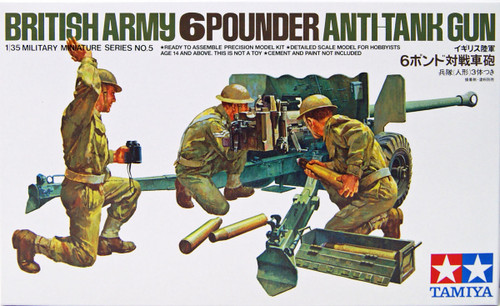 Tamiya 35005 British Army 6-Pounder Anti-Tank Gun 1/35 scale kit