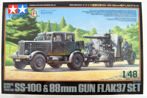 Tamiya 37027 GERMAN HEAVY TRACTOR SS-100 88mm Gun Flak37 1/48 scale kit