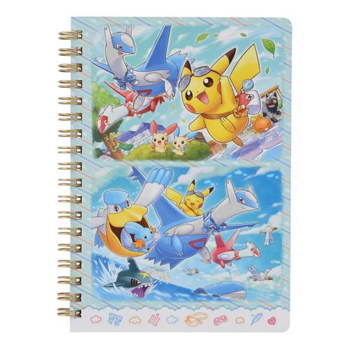 Pokemon Center Original B6 Ring Notebook Pikachu Riding Latias & Latios