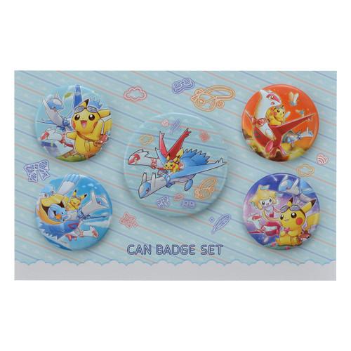Pokemon Center Original Can Badge Set Pikachu Riding Latias & Latios