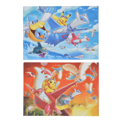 Pokemon Center Original A4 Clear File 2 Sheets Set Pikachu Riding Latias & Latios Sunset