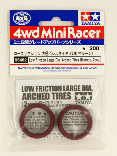 Tamiya 95482 Mini 4WD Low Friction Large Dia. Arched Tires (Maroon, 2pcs.)
