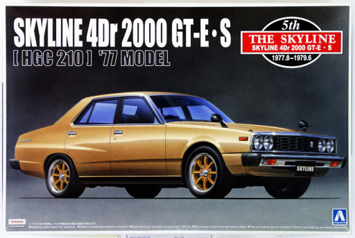 Aoshima 41680 Nissan Skyline 4Dr 2000 GT-E S (HGC210) 1977 Model 1/24 Scale Kit