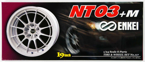 Aoshima 05552 Tire & Wheel Set ENKEI NT03+M 19 inch 1/24 Scale Kit
