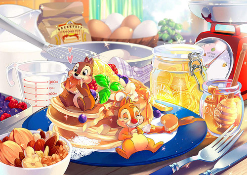 Tenyo Japan Jigsaw Puzzle D-300-286 Disney Chip & Dale Pancake (300 Pieces)