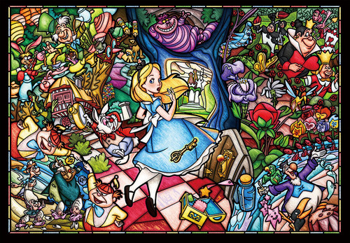 Tenyo Japan Jigsaw Puzzle DSG-500-473 Alice in Wonderland Story Stained Glass (500 Pieces)