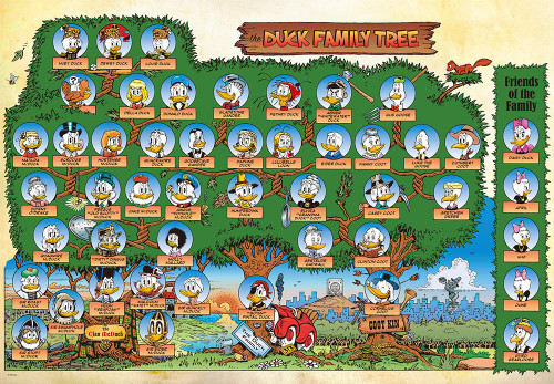 Tenyo Japan Jigsaw Puzzle D-1000-044 Disney Donald Duck Family Tree (1000 Pieces)