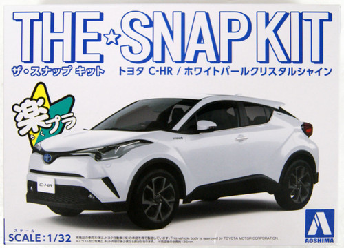 Aoshima 56349 06-A Toyota C-HR (White Pearl Crystal Shine) 1/32 Scale Pre-painted Snap-fit Kit