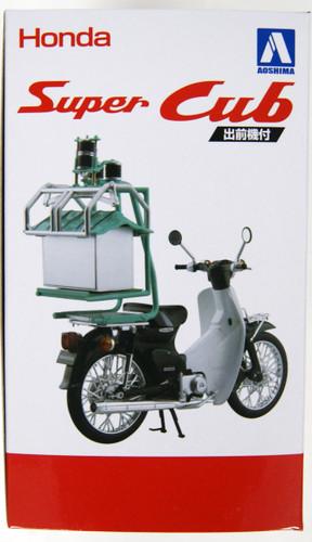 Aoshima 05672 Honda Super Cub 50 w/ Demae-ki (Rear Carrier) 1/12 Scale Finished Model