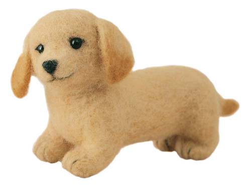 Hamanaka  H441-536 Aclaine Felt Wool Bon Bon Handicraft Kit Miniature Dachshund (Cream)