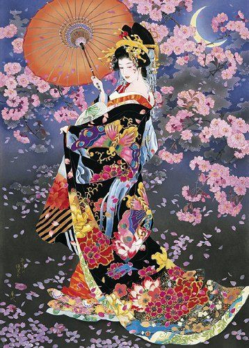 Epoch Jigsaw Puzzle 21-104 Japanese Art Kimono & Sakura (3000 S-Pieces)