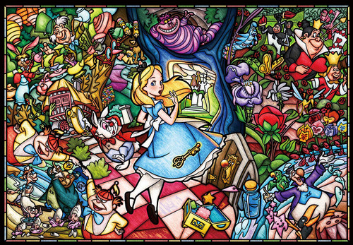Tenyo Japan Pure White Jigsaw Puzzle DP-1000-027 Disney Alice in Wonderland Stained Glass (1000 Pieces)