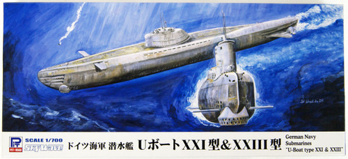 Pit-Road Skywave W223 German Navy Submarine U-boat Type XXI & Type XXIII 1/700 Scale Kit
