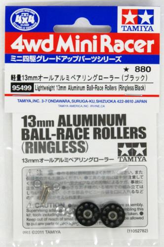 Tamiya Mini 4WD 95499 Lightweight 13mm Aluminum Ball-Race Rollers (Black)