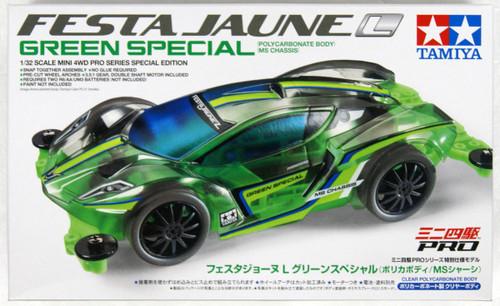 Tamiya 95485 Mini 4WD Festa Jaune L Green SP Polycarbonate Body MS Chassis 1/32