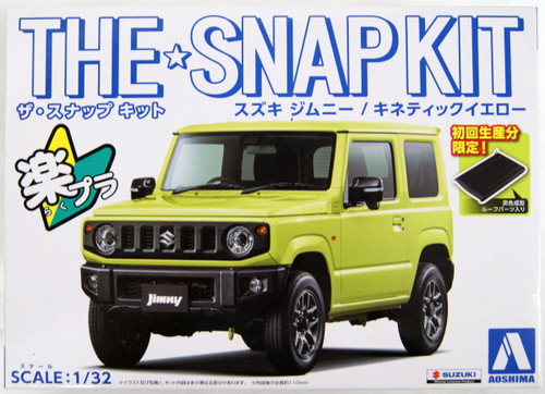 Aoshima 57766 08-A Suzuki Jimny (Kinetic Yellow) 1/32 Scale Pre-Painted Snap-Fit Kit