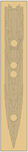Fujimi FUNE NEXT 015 EX-101 IJN Battleship Haruna Wooden Deck Stickers (w/ Ship Name Plate) 1/700 scale kit