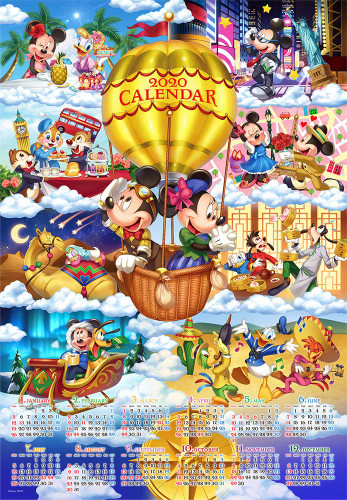 Tenyo Japan Jigsaw Puzzle D-1000-052 Disney Mickey Around The World 2020 Calendar (1000 Pieces)