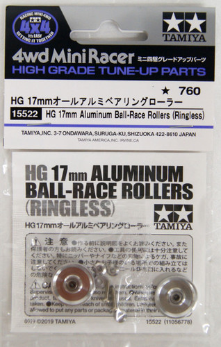 Tamiya 15522 Mini 4WD HG 17mm Aluminum Ball-Race Rollers (Ringless)
