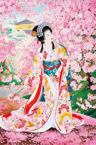 Epoch Jigsaw Puzzle 23-326 Haruyo Japanese Art Sakura Hime Kimono (2016 S-Pieces)