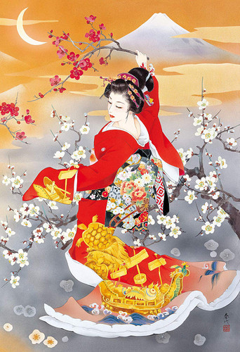 Epoch Jigsaw Puzzle 28-330 Haruyo Japanese Art Kotobuki Kimono (300 Pieces)