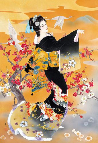 Epoch Jigsaw Puzzle 26-329 Haruyo Japanese Art Kimono Crane (300 Pieces)