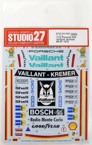 Studio27 ST27-DC1001 Porsche 934 Vaillant- Kremer #6 1976 Decal For Tamiya 1/12