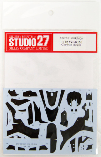 Studio27 ST27-CD12007 YZF-R1M Carbon Decal for Tamiya 1/12 Scale