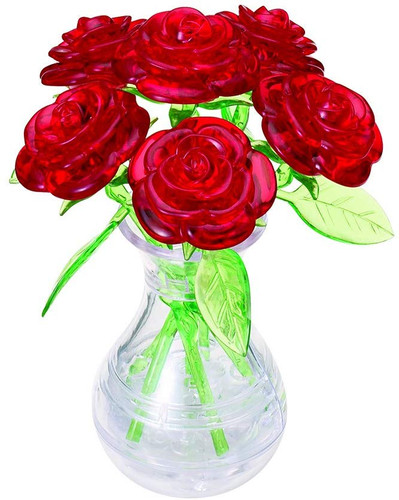 Beverly Crystal 3D Puzzle 485391 Six Roses Red (47 Pieces)