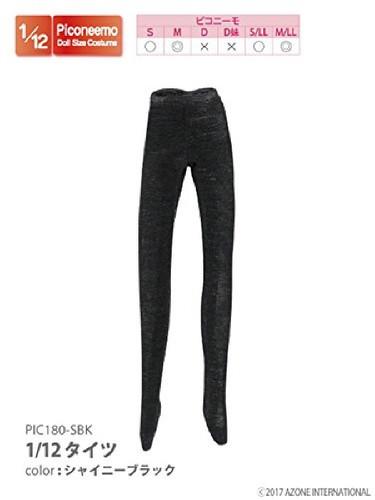 Azone PIC180-SBK 1/12 Tights Shiny Black