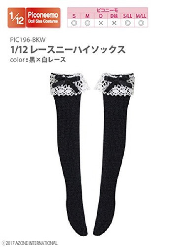 Azone PIC196-BKW 1/12 Lace Knee High Socks Black x White Lace