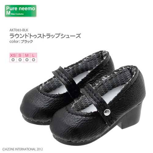 Azone AKT083-BLK Pure Neemo XS-L 1/6 Round Toe Strap Shoes (Black)