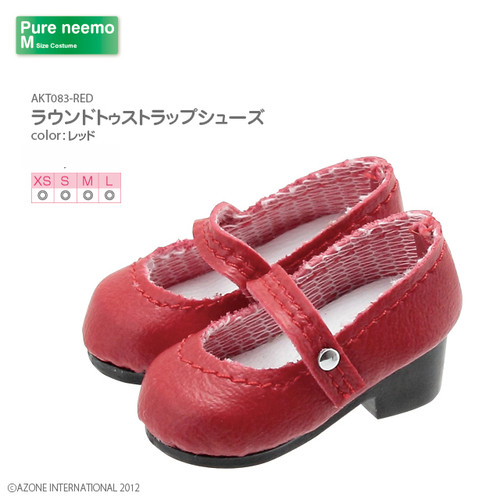 Azone AKT083-RED Pure Neemo XS-L 1/6 Round Toe Strap Shoes (Red)