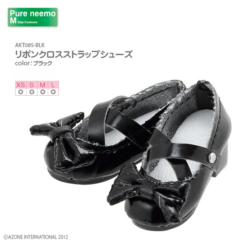 Azone AKT085-BLK Pure Neemo XS-L 1/6 Ribbon Close Strap Shoes (Black)