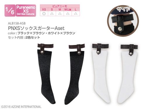 Azone ALB158-ASB Pure Neemo PNXS Socks Garter B Set(Black x Brown/White x Brown)