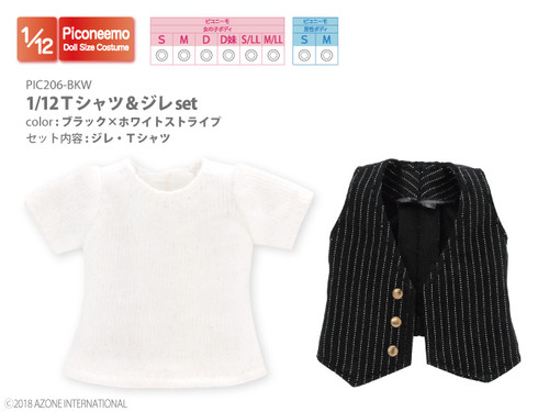 Azone PIC206-BKW 1/12 T-shirt & Gilet Set (Black x White Stripe)