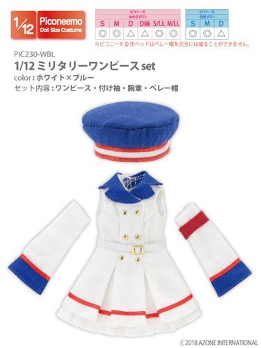 Azone PIC230-WBL 1/12 Military One Piece Set (White x Blue)