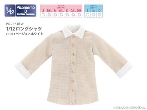 Azone PIC257-BEW 1/12 Long Shirt (Beige x White)