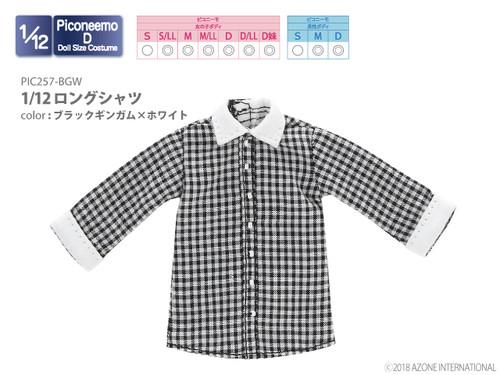 Azone PIC257-BGW 1/12 Long Shirt (Black Gingham x White)