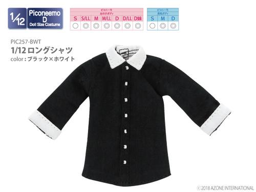 Azone PIC257-BWT 1/12 Long Shirt (Black x White)