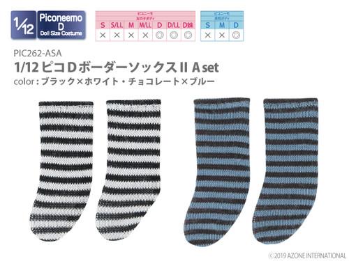 Azone PIC262-ASA 1/12 Picco D Border Socks II A Set (Black x White, Chocolate x Blue)