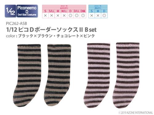 Azone PIC262-ASB 1/12 Picco D Border Socks II B Set (Black x Brown, Chocolate x Pink)