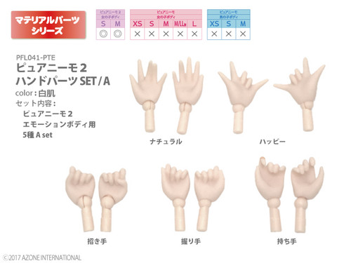Azone PFL041-PTE Pure Neemo 2 Hand Parts Set A