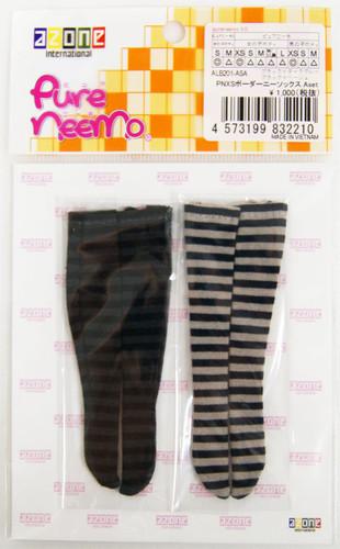 Azone ALB201-ASA Pure Neemo PNXS Border Knee Socks A Set (Black x Dark Gray/Black x Beige)
