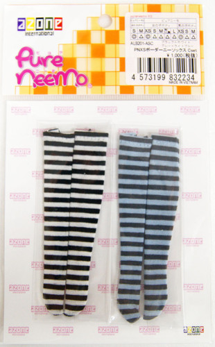 Azone ALB201-ASC Pure Neemo PNXS Border Knee Socks C Set (Black x White/Gray x Light Blue)