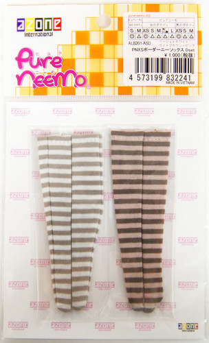 Azone ALB201-ASD Pure Neemo PNXS Border Knee Socks D Set (Beige x White/Light Brown x Pink)