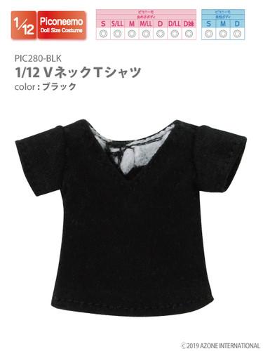 Azone PIC280-BLK 1/12 Piconeemo V-neck T-shirts (Black)