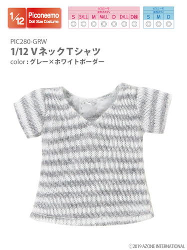 Azone PIC280-GRW 1/12 Piconeemo V-neck T-shirts (Gray x White Border)