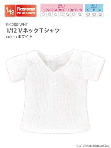 Azone PIC280-WHT 1/12 Piconeemo V-neck T-shirts (White)