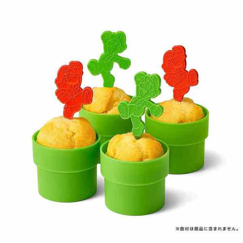 Nintendo Super Mario Home & Party Muffin cup (Pipe) & Pick (Mario / Luigi)